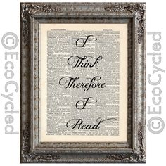 New to EcoCycled on Etsy: I Think Therefore I Read on Vintage Upcycled Dictionary Art Print Book Art Print Recycled Reading Adventure Learning Typography (10.00 USD)