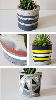 Handcrafted concrete items - Diy home plants Concrete Plant Pots, Painted Plant Pots, Diy Unicorn, Copper Decor, Concrete Crafts, Deco Floral, Handmade Home Decor, Flower Pots, Pottery