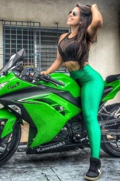 Kawasaki biker girl in green tight tights rides wild on the Dirt Bike Girl, Motorbike Girl, Motorcycle Bike, Lady Biker, Biker Girl, Motard Sexy, Hot Bikes, Biker Chick, Super Bikes