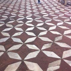Sandstone and marble detail at the Taj Mahal.