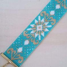 Bracelet manchette perles miyuki tissées - modèle Camelia : Bracelet par c-creation-de-bijoux