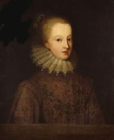 Lady Elizabeth, daughter of William Cecil, 2nd Earl of Exeter. Countess of Berkshire (married to Thomas Howard, 1st Earl of Berkshire). Great granddaughter of Queen Elizabeth's William Cecil, Lord Burghley, and grandmother of Lady Elizabeth Howard, wife of the poet John Dryden. by Paul van Somer, 1614