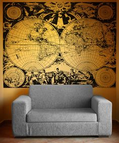 Vinyl Wall Decal Sticker Ancient Nautical World Map #OS_AA322    I want this for my livingroom