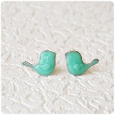 Little Mint Birds Earrings posts studs earrings Free by IrenkaR, $19.00
