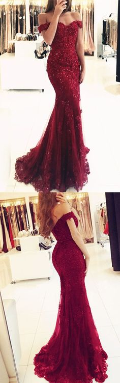 Off Shoulder Lace V-neck Mermaid Prom Dresses 2018 Formal Evening Gowns M1050