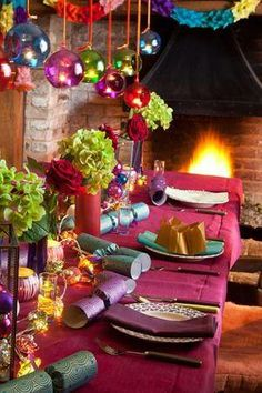 Colorful Holiday table setting
