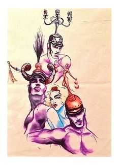Jean Paul Gaultier's concept art sketche for The Blond Ambition Tour - Madonna
