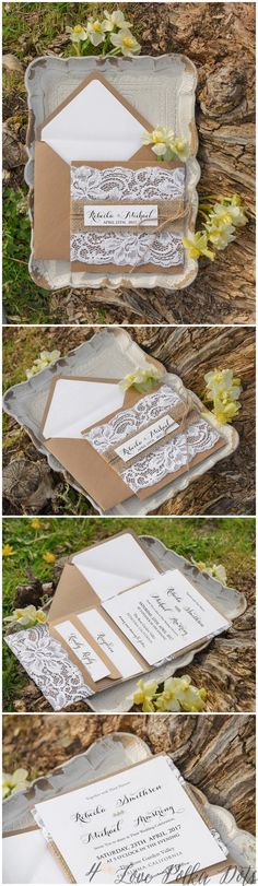 Rustic kraftr paper and lace wedding invitations #wedding #rustic #lace