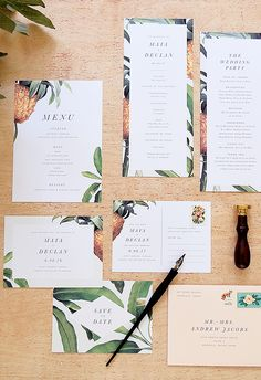 Tropical Pinneapple and Banana wedding invitations, programs, and save the dates