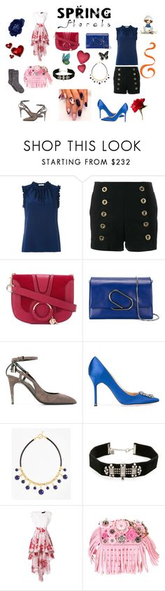 """""""Spring florals..."""" by jamuna-kaalla ❤ liked on Polyvore featuring Tory Burch, Chloé, See by Chloé, 3.1 Phillip Lim, Tom Ford, Manolo Blahnik, Brooks Brothers, DANNIJO, Christian Pellizzari and Coach"""