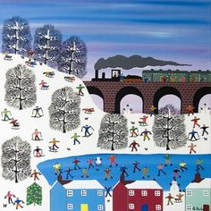 """Train Christmas card: """"Home for Christmas by Gordon Barker. Blank inside snowy art scene. Individually made by Art Cove UK."""