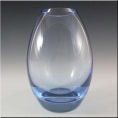 Holmegaard Per Lutken Blue Glass 'Hellas' Vase Signed - £39.99