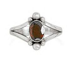Oval Faceted Garnet Ring With Split Style Bead Design Band        Price: $49.95