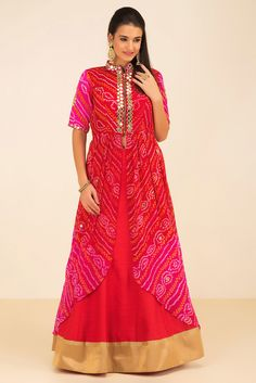 Rent THE STYLE LOFT BY RITU DEORA - Red And Pink Bandhani Kurta And Lehenga Set.