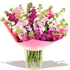 Scents of Summer  A glorious bouquet of florist arranged, scented Stocks. This floral beautiful highly scented fresh flower gift is available during summer and ideal for a wide range of summer gifting occasions. Vase not included.
