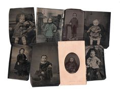 8 antique Tintype photos of babies