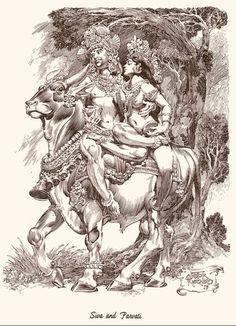 Néstor Redondo - Siva y Parvati Shiva Art, Krishna Art, Hindu Art, Kerala Mural Painting, Indian Art Paintings, Indian Artwork, Abstract Paintings, Oil Paintings, Demon Drawings