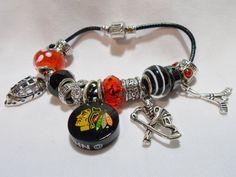 Chicago Blackhawks Hockey Charm Bracelet by LYDIASDESIGNZ on Etsy, $39.99