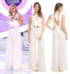 """Eliana usou neste domingo, 04, um lindo macacão longo, branco e seguiu a tendência """"off-White"""" (branco total). Estava extremamente femininae elegante. Além de tudo, confortável, por conta do modelo de calças largas e..."""