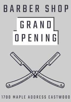 A creative template for a grand opening poster. A simple background with an illustration of scissors.