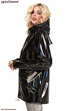 Black holographic raincoat 2