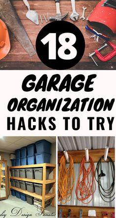 Garage Organization Tips, Diy Garage Storage, Clutter Organization, Home Organization Hacks, Shed Storage, Storage Ideas, Garage Makeover, Getting Organized, Diy Projects