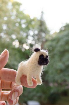 Pug miniature for doll house, tiny dog miniature, dollhouse miniatures gift for kids, ecofriendly toys