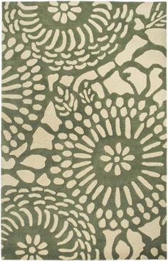Sage/Cream patterned rug