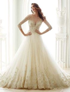 beautiful fit and flare wedding dress with neckline designed #weddingdress