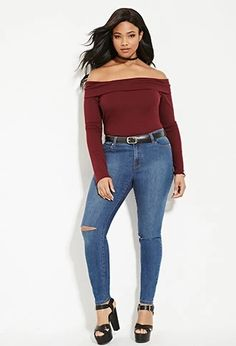Plus Size Distressed Skinny Jeans | Forever 21 PLUS #forever21plus