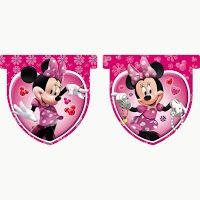 Minnie con Joyas: Banderines para Fiestas, para Imprimir Gratis.