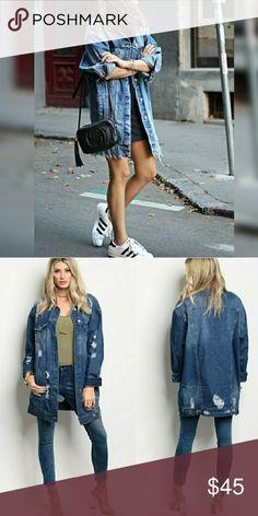 Over sized jean jacket Mid denim , trendy over sized jean jacket. VERY cute. Jackets & Coats Jean Jackets