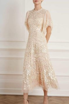 Sequin Midi Dress, Pink Midi Dress, Embellished Dress, Embroidered Lace, Floral Embroidery, Engagement Dresses, Wedding Dresses, Flora Dress, Floral Gown