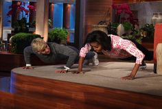 "First Lady Michelle Obama made an appearance on ""The Ellen DeGeneres Show"" on Thursday, February 2 -- and challenged Ellen to a friendly push-up competition! The First Lady also joked about her husband, telling Ellen that he doesn't pick up his socks. Michelle Obama, Presidente Obama, Buns Of Steel, Ellen Degeneres Show, Lets Move, The Ellen Show, Carla Bruni, Demi Moore, 30 Day Challenge"