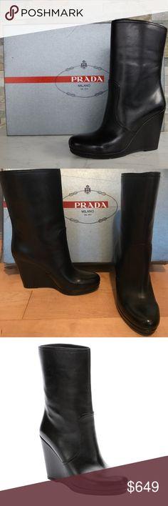 45fa87f0fc7fc Spotted while shopping on Poshmark  PRADA Wedge Black Nappa Leather Boots  NIB 7.5-8new!  poshmark  fashion  shopping  style  Prada  Shoes