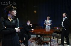 Eve Best as Hedda Tesman, Benedict Cumberbatch as George Tesman, Lisa Dillon as Thea Elvsted and Iain Glen as Judge Brack in Henrik Ibsen's Hedda Gabler directed by Richard Eyre at the Almeida Theatre in London. Eve Best, Hedda Gabler, Iain Glen, He Is Coming, London Theatre, Rich Image, My Tom, Music Licensing, Open My Eyes