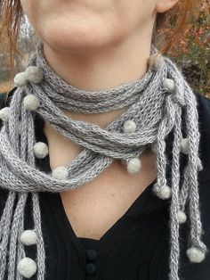 Ravelry: Shades of Grey Roped and Tied Scarf Necklace pattern by Amy Felker