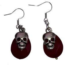 Halloween oorbellen skull schedel doodshoofd met door MissFrauque