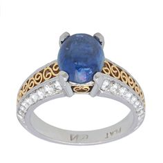 Pre-owned 18k and Platinum 1/2ct TDW Diamond and Sapphire Estate Ring