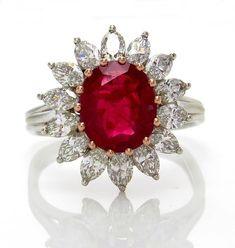 "GIA ""NO HEAT"" 4.43ct Burma Natural Red Ruby Diamond Cluster Platinum Vintage Ring"