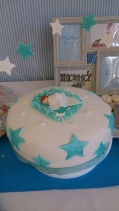 Torta bebe estrellitas azul blanco