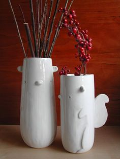 Squirrel vases