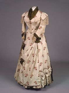 House of Worth, Silk Dress with Moire Ribbon. Paris, 1880s.
