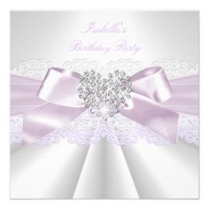 Pretty Lilac White Diamond Heart Birthday Party Custom Announcement.  $2.45