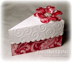 cake slice box.. aww adorable for giving to people after dinner parties for the left over cake!