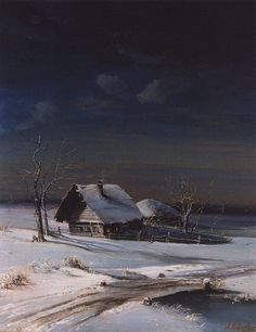 Winter Landscape, by Russian realism painter Aleksey Savrasov, His landscapes were simple which is part of their charm. Savrasov was a son of a merchant and his disciples included Isaac Levitan and Konstantin Korovin, both Russian artists. Winter Landscape, Landscape Art, Landscape Paintings, Russian Painting, Russian Art, Winter Painting, Winter Art, Russian Landscape, Jolie Photo