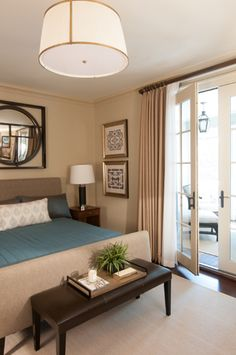 Beige and light teal bedroom - Roughan Interior Design