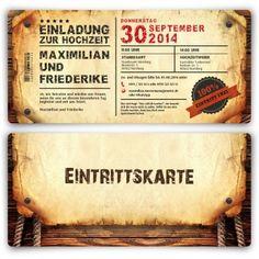 einladungskarten zur hochzeit (50 stück) als eintrittskarte, Einladung