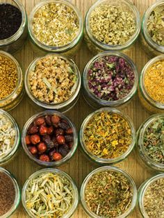 Learn the health value of specific ingredients used in common herbal teas - 10 healing herbs
