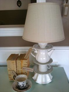 get thrifted china and thrifted lamp. Instead of purchasing lamp kit just take thrifted lamp apart